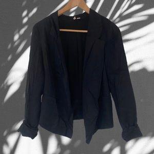 Frenchi Crepe Open Jacket Blazer in Black
